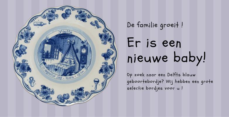 Delft Blauw Geboortebordje voor de nieuwe baby